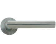 Zoo Hardware Vier Mitred Lever On Round Rose, Satin Stainless Steel - VS040S (sold in pairs)