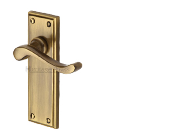 Heritage Brass 'Edwardian' Antique Brass Door Handles -  W3200-AT (sold in pairs)