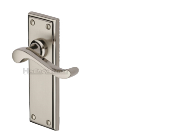 Heritage Brass 'Edwardian' Mercury Finish Satin Nickel With Polished Nickel Edge Handles - W3200-MC (sold in pairs)