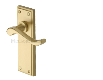 Heritage Brass 'Edwardian' Satin Brass Door Handles - W3200-SB (sold in pairs)