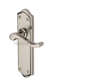 Heritage Brass 'Buckingham' Mercury Finish Satin Nickel With Polished Nickel Edge Handles - W4200-MC (sold in pairs)