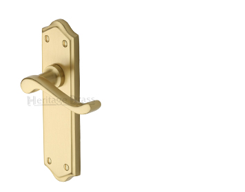 Heritage Brass 'Buckingham' Satin Brass Door Handles - W4200-SB (sold in pairs)