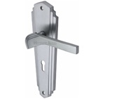 Heritage Brass Waldorf Art Deco Style Door Handles, Satin Chrome - WAL6500-SC (sold in pairs)