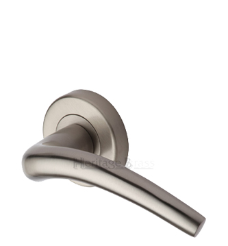 Heritage Brass 'Wing' Satin Nickel Door Handles On Round Rose - V1121-SN (sold in pairs)