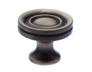 Prima Stepped Solid Cupboard Knobs (25mm, 32mm Or 38mm), Antique Brass - XL1301