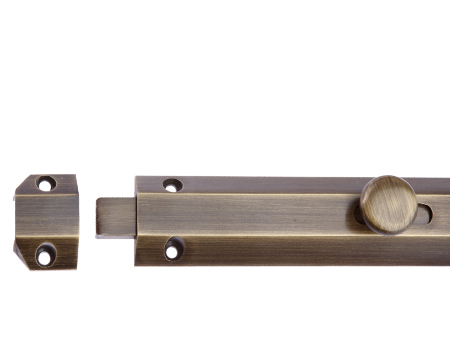 Prima 'Surface' Door Bolts (102mm, 150mm OR 202mm), Antique Brass - Flush Bolts, Barrel Bolts And Door Bolts From Door Handle Company
