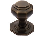 Prima Octagonal Centre Door Knob, Antique Brass - XL15B