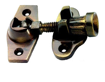 ACORN SASH WINDOW FASTENER (SCREW DOWN TYPE) (45MM X 25MM), ANTIQUE BRASS -  XL233AB