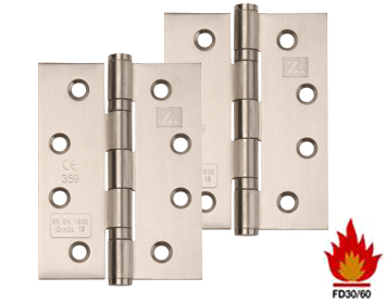 Excel Hardware 4 Inch 'Fire Rated', Stainless Steel, Ball Bearing Slimline Knuckle Hinges, 102mm x 76mm, Satin Finish - XL828 (sold in packs of 3)