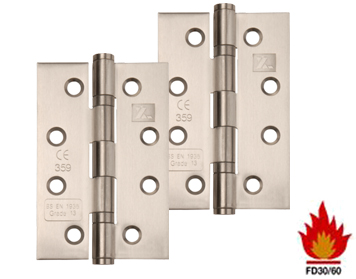 Excel Hardware 4 Inch 'Fire Rated', Stainless Steel, Ball Bearing Slimline Knuckle Hinges, Satin Finish - XL830 (sold in packs of 3)