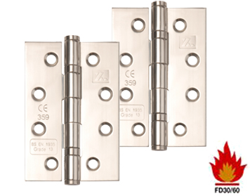 Excel Hardware 4 Inch 'Fire Rated', Stainless Steel, Ball Bearing Slimline Knuckle Hinges, Polished Finish - XL831 (sold in packs of 3)