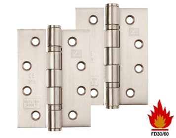 4 INCH 'FIRE RATED' STAINLESS STEEL BALL BEARING HINGES, POLISHED, SATIN, OR (PVD) BRASS - XL835 (sold in pairs)