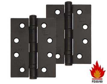 Excel Hardware 4 Inch 'Fire Rated' Solid Steel Ball Bearing Hinges, Black Powder Coated - XL869-BLK (sold in pairs)