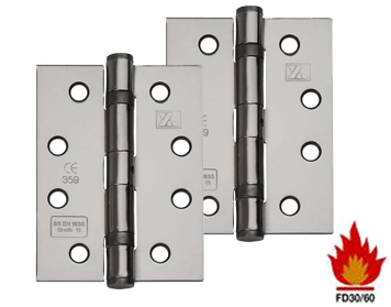 Excel Hardware 4 Inch 'Fire Rated' Solid Steel Ball Bearing Hinges, Black Nickel - XL869-BLNK (sold in pairs)