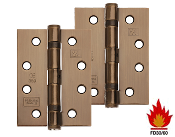 Excel Hardware 4 Inch 'Fire Rated' Solid Steel Ball Bearing Hinges, Antique Brass - XL869-ANB (sold in pairs)