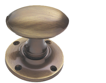 Prima Oval Mortice Door Knobs, Antique Brass - XL98