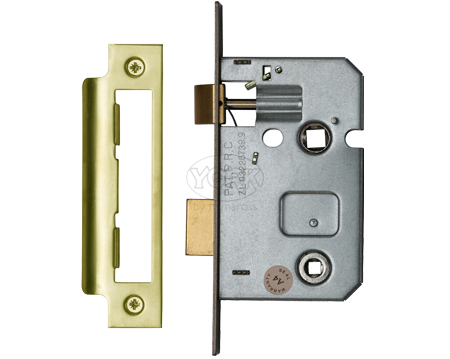 Heritage Brass 2.5 Inch Or 3 Inch Bathroom Locks (Bolt Through), Polished Brass - YKBL-PB