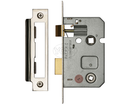 Heritage Brass 2.5 Inch Or 3 Inch Bathroom Locks (Bolt Through), Polished Chrome / Polished Nickel - YKBL-PC&PN