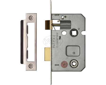 Heritage Brass 2.5 Inch Or 3 Inch Bathroom Locks (Bolt Through), Satin Nickel / Satin Chrome - YKBL-SN&SC