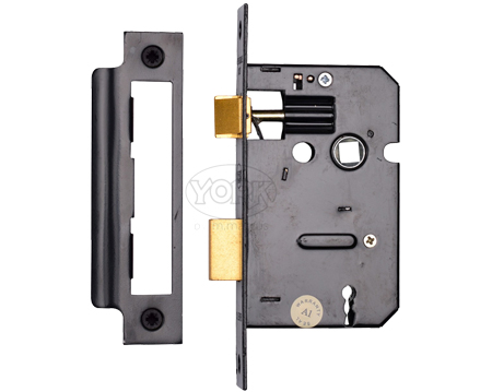 Heritage Brass 3 Lever Sash Locks (Bolt Through), Black - YKSL-BLK