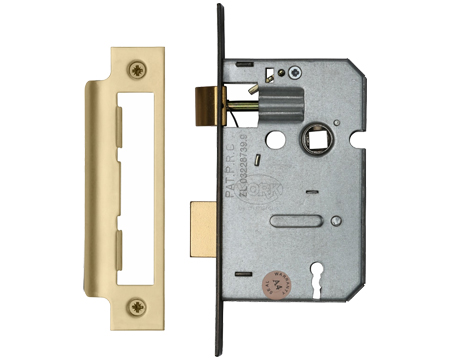 Heritage Brass 3 Lever Sash Locks (Bolt Through), Satin Brass - YKSL-SB