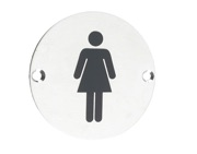 Zoo Hardware ZSS Door Sign - Female Sex Symbol, Polished Stainless Steel - ZSS02PS