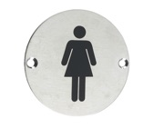 Zoo Hardware ZSS Door Sign - Female Sex Symbol, Satin Stainless Steel - ZSS02SS