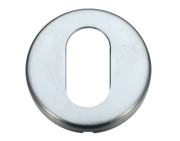 Zoo Hardware Stanza Contract Oval Profile Escutcheon, Satin Chrome - ZCZ003SC