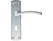 Zoo Hardware Stanza Toledo Contract Door Handles On Backplate, Satin Chrome - ZCZ031SC (sold in pairs)