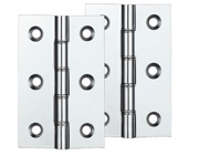 Zoo Hardware Double Phosphor Bronze Washed Brass Butt Hinge (4 Inch), Polished Chrome Plated - ZHDPBCP (sold in pairs)