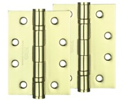 Zoo Hardware 4 Inch Steel Ball Bearing Door Hinges, Electro Brass - ZHS43EB (sold in pairs)