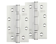 Zoo Hardware 4 Inch Grade 201 Slim Knuckle Bearing Hinge, Polished Stainless Steel - ZHSS63P (sold in pairs)