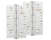 Zoo Hardware 4 Inch Grade 201 Slim Knuckle Bearing Hinge, Satin Stainless Steel - ZHSS63S (sold in pairs)