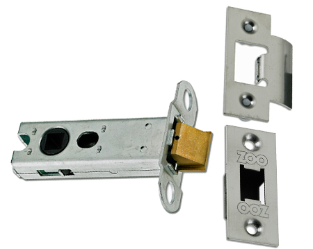'Double Sprung 2.5 Inch Or 3 Inch' Tubular Latches (Bolt Through) - Silver Or Brass Finish - ZLTLKA