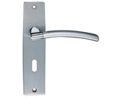Zoo Hardware Stanza Amalfi Door Handles On Backplate, Dual Finish Satin Chrome & Polished Chrome - ZPZ081SCCP (sold in pairs)