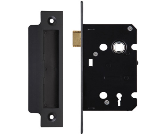 Zoo Hardware 3 Lever Contract Sash Locks, Powder Coated Black Finish - ZSC364PCB