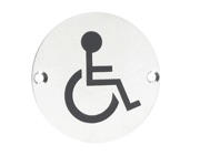 Zoo Hardware ZSS Door Sign - Disabled Facilities Symbol, Polished Stainless Steel - ZSS07PS