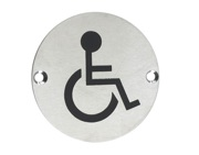 Zoo Hardware ZSS Door Sign - Disabled Facilities Symbol, Satin Stainless Steel - ZSS07SS