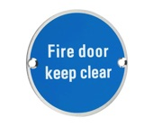 Zoo Hardware ZSS Door Sign - Fire Door Keep Clear, Polished  Stainless Steel - ZSS11PS