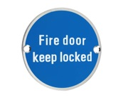 Zoo Hardware ZSS Door Sign - Fire Door Keep Locked, Polished Stainless Steel - ZSS10PS