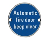 Zoo Hardware ZSS Door Sign - Automatic Fire Door Keep Clear, Satin Stainless Steel - ZSS12SS