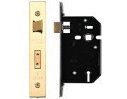 Zoo Hardware 3 Lever UK Replacement Sash Lock (65.5mm OR 78mm), PVD Stainless Brass - ZURS364PVD