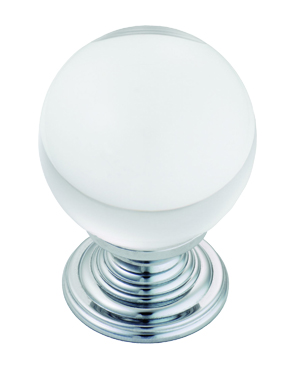 Carlisle Brass Fingertip Lead Crystal Ball Cupboard Knobs (27mm Or 34mm Dia), Polished Chrome Or Polished Brass - FTD690 None