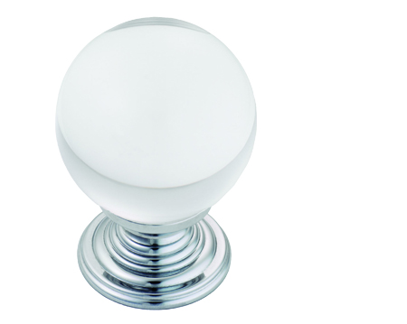 Carlisle Brass Fingertip Lead Crystal Ball Cupboard Knobs (27mm Or 34mm Dia), Polished Chrome Or Polished Brass - FTD690