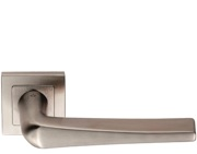 Eurospec Plaza Shaped Stainless Steel Door Handles - Satin Stainless Steel - SSL1404SSS (sold in pairs)
