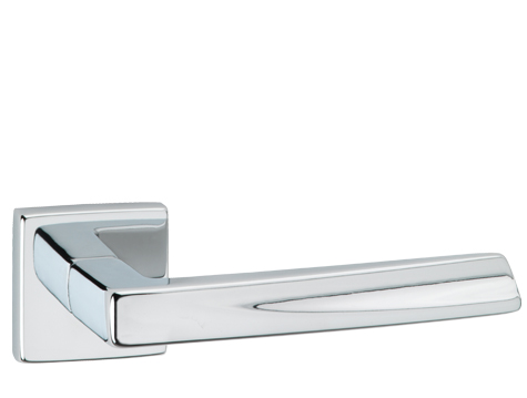 Urfic 'Sydney' Door Handles On Square Rose, Polished Chrome - SYDNEY-ROSE (sold in pairs)