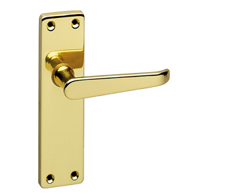 Urfic 'Victorian' Door Handles On Backplate, Polished Brass - VICTORI-PB (sold in pairs)