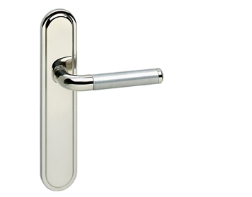 Urfic 'Vienna' Door Handles On Backplate, Dual Finish Polished Nickel & Silver - VIENN-PNSV (sold in pairs)